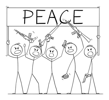 Vector cartoon stick figure drawing conceptual illustration of group or crowd of soldiers, or armed people with guns demonstrating or brandish with pistols and rifles and holding peace sign.