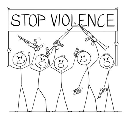 Vector cartoon stick figure drawing conceptual illustration of group or crowd of soldiers, or armed people with guns demonstrating or brandish with pistols and rifles and holding stop violence sign. Ilustração