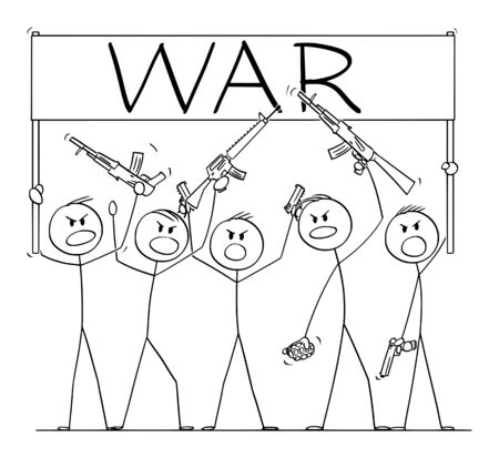 Vector cartoon stick figure drawing conceptual illustration of group or crowd of soldiers, or armed people with guns demonstrating or brandish with pistols and rifles and holding war sign.