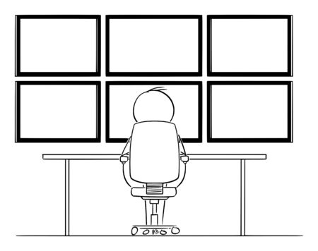 Vector cartoon stick figure drawing conceptual illustration of man, hacker or businessman sitting in front of six computer monitors mounted on wall hacking or analyzing data. Ilustração