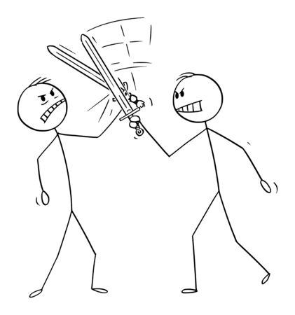 Vector cartoon stick figure drawing conceptual illustration of two men or businessmen fighting with swords or fencing. Business concept of competition. Ilustração