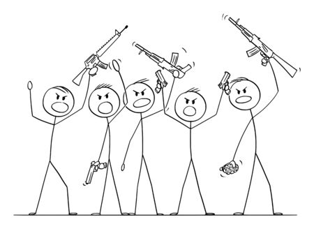 Vector cartoon stick figure drawing conceptual illustration of group or crowd of soldiers or armed people with guns demonstrating or brandish with pistols and rifles. Ilustração