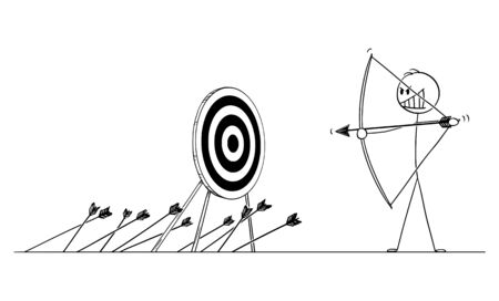 Vector cartoon stick figure drawing conceptual illustration of man or businessman shooting arrow at target with bow and missing. Business concept of failure.