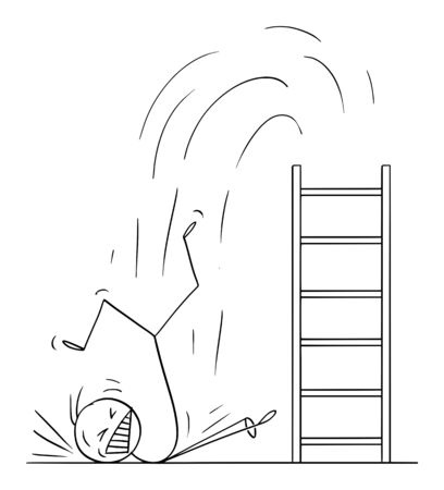Vector cartoon stick figure drawing conceptual illustration of man or businessman falling hard from ladder. Business or career concept of failure.
