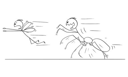 Vector cartoon stick figure drawing conceptual illustration of spider chasing fly and business metaphor of competition and power.