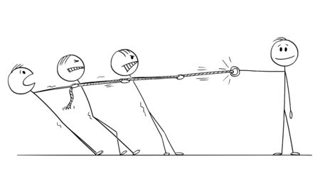 Vector cartoon stick figure drawing conceptual illustration of group of businessmen playing tug-of-war with strong individuality or monopoly.