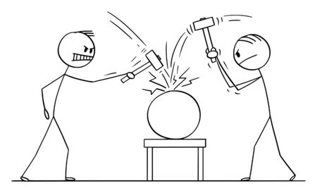 Vector cartoon stick figure drawing conceptual illustration of two men or businessmen beating an object with hammers. Concept of cracking or solving problem.