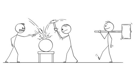 Vector cartoon stick figure drawing conceptual illustration of two men or businessmen beating an object with hammers, third man is going with bigger hammer. Concept of cracking or solving problem.