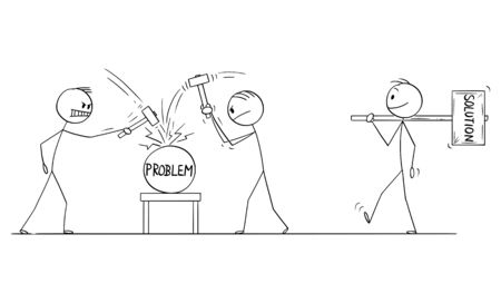 Vector cartoon stick figure drawing conceptual illustration of two men or businessmen beating problem with hammers, third man is going with bigger hammer. Concept of cracking or solving problem.