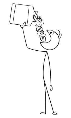 Vector cartoon stick figure drawing conceptual illustration of man taking large amount of medicine pills from dose. Concept of drug overuse.