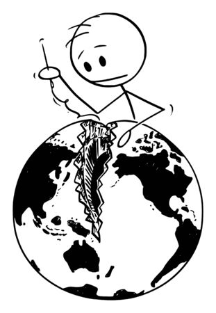 Vector cartoon stick figure drawing conceptual illustration of man with needle sewing broken world, globe or Earth. Concept of reconciliation of Pacific nations and peacemaking.