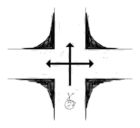 Vector cartoon stick figure drawing conceptual illustration of man or businessman standing on crossroad and making decision about the future. Illustration
