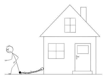 Vector cartoon stick figure drawing conceptual illustration of man chained by iron chain to his family house. Concept of housing or mortgage expenses.