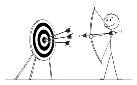 Vector cartoon stick figure drawing conceptual illustration of successful man or businessman shooting arrow at target with bow. Business concept of pointing at goal or success.