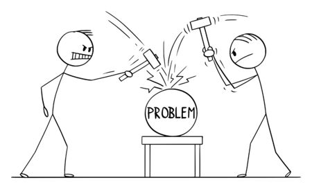 Vector cartoon stick figure drawing conceptual illustration of two men or businessmen beating problem with hammers. Concept of cracking or solving problem. Imagens - 133360716