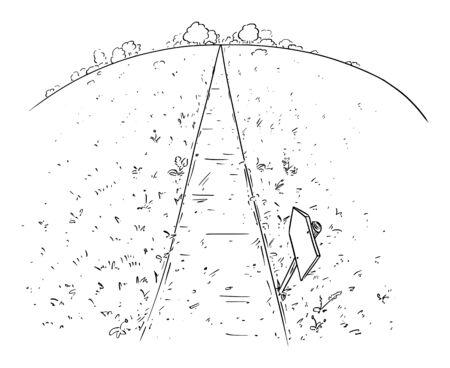 Dessin vectoriel à la plume et à l'encre de la route ou du chemin à travers l'herbe, les prairies et la nature. Concept d'avenir et de destin. Vecteurs