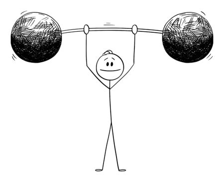 Vector cartoon stick figure drawing conceptual illustration of man or businessman lifting heavy weight. Business concept.