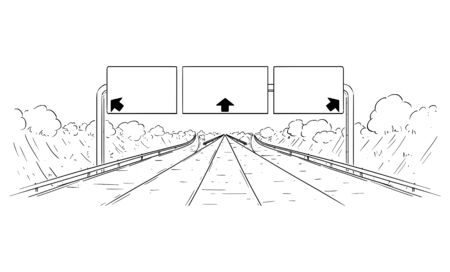 Vector cartoon black and white drawing illustration of forward going highway with branching, arrows and big empty sign. Illustration