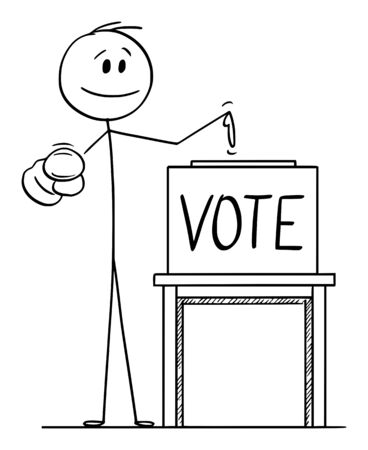 Vector cartoon stick figure drawing conceptual illustration of man pointing at voter or elector, and on ballot box with vote text to inspire to vote in elections.