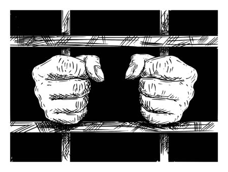 Vector black and white artistic drawing of hands of prisoner in prison cell holding iron bars.