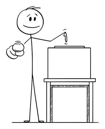 Vector cartoon stick figure drawing conceptual illustration of man pointing at voter or elector and on ballot box to inspire to vote in elections.
