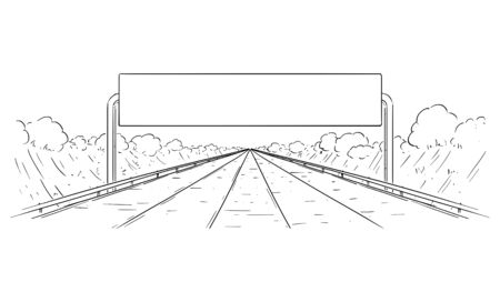 Vector cartoon black and white drawing illustration of forward going highway and big empty sign. Imagens - 133433677