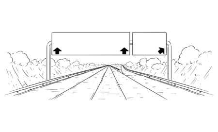 Vector cartoon black and white drawing illustration of forward going highway with branching, arrows and big empty sign. Ilustração