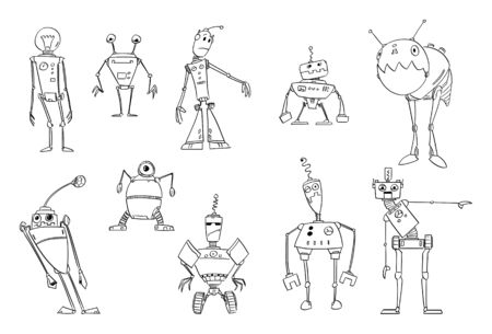 Vector black and white drawing illustration of set of cute funny retro robots design. Coloring book for children. Imagens - 133433681