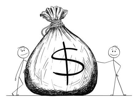 Vector de dibujos animados figura de palo dibujo ilustración conceptual de dos hombres o empresarios posando con gran bolsa o bolsa de dinero con el símbolo del dólar. Ilustración de vector