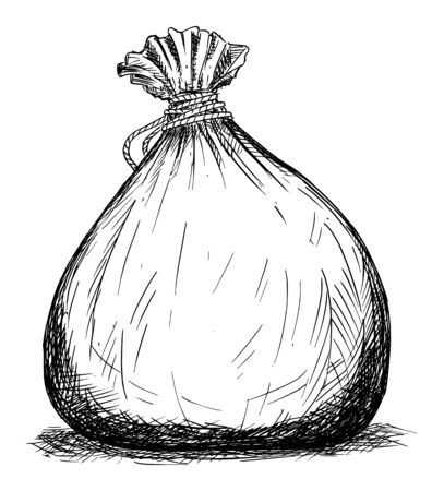 Vector cartoon black and white drawing illustration of bag or pouch , possibly full of money. Ilustração