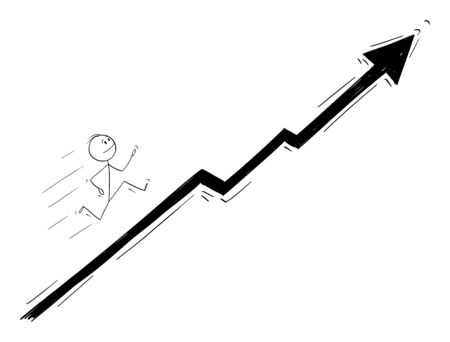Vector cartoon stick figure drawing conceptual illustration of businessman running up the chart or graph. Business concept of financial success and growth.