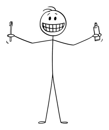 Vector cartoon stick figure drawing conceptual illustration of smiling man showing his teeth, and holding tooth brush or toothbrush and tooth paste or tooth paste in hands.