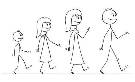 Vector cartoon stick figure drawing conceptual illustration of walking family on trip of man, woman, girl and boy or father, mother, daughter and son.
