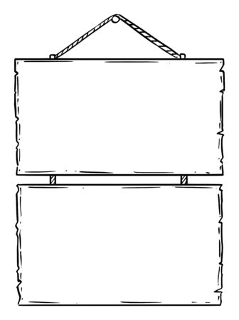 Vector black and white doodle hand drawing of two empty or blank wooden sign boards on rope. Advertising design. Imagens - 133480637