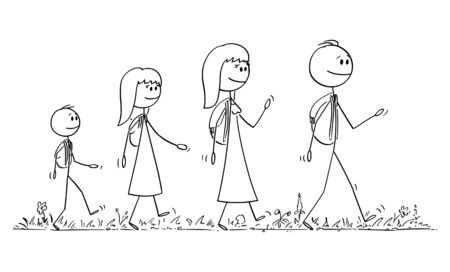 Vector cartoon stick figure drawing conceptual illustration of walking family on trip or adventure of man, woman, girl and boy or father, mother, daughter and son.