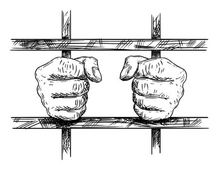 Vector black and white artistic drawing of hands of prisoner in prison cell holding iron bars. Imagens - 133479578