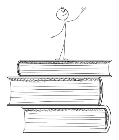 Vector cartoon stick figure drawing conceptual illustration of man standing on pile of big books and praising education and knowledge. Ilustração