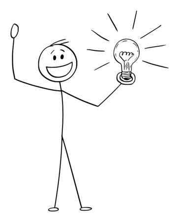 Vector cartoon stick figure drawing conceptual illustration of happy celebrating man or businessman with idea or solution holding shining light bulb in hand. Ilustração