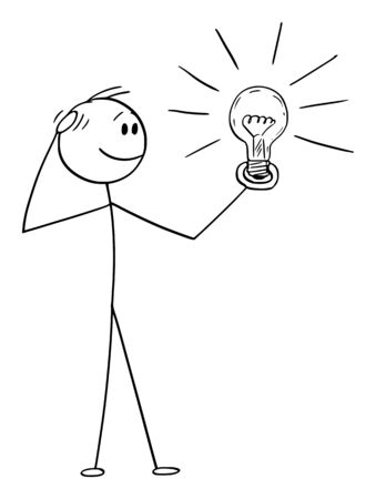 Vector cartoon stick figure drawing conceptual illustration of thinking man or businessman watching shining light bulb in his hand. Creativity concept. Ilustração