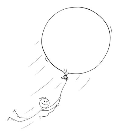 Vector cartoon stick figure drawing conceptual illustration of man or businessman holding balloon and flying free. Concept of dreams,creativity and freedom. Ilustração