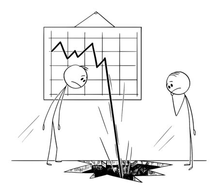 Vector cartoon stick figure drawing conceptual illustration of two businessmen watching frustrated the business chart or graph falling down, and knocking a hole in the ground or floor.