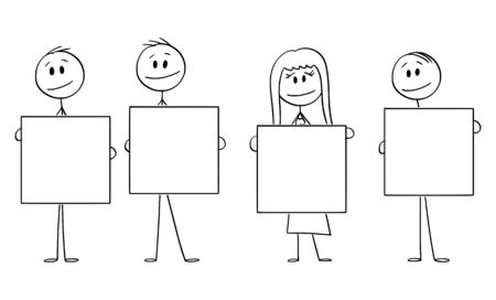 Vector cartoon stick figure drawing conceptual illustration of four people or businesspeople of businessmen and businesswoman holding empty signs.