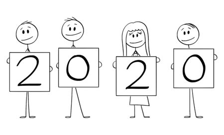 Vector cartoon stick figure drawing conceptual illustration of four people or businesspeople of businessmen and businesswoman holding year 2020 signs.