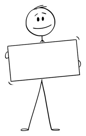 Vector cartoon stick figure drawing conceptual illustration of man or businessman holding empty white sign.