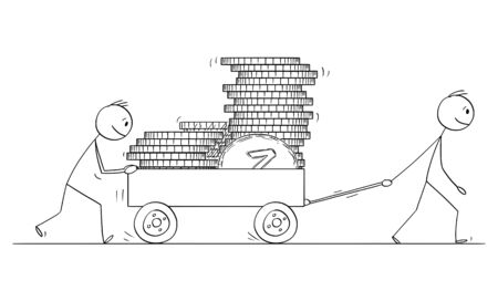 Vector cartoon stick figure drawing conceptual illustration of two men or businessmen pushing cart or handcart or pushcart loaded by coins. Ilustração