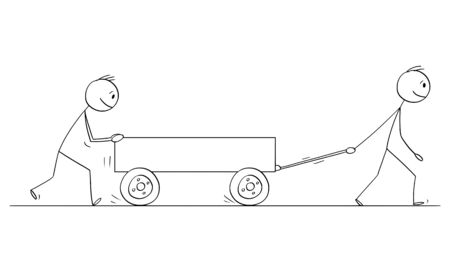 Vector cartoon stick figure drawing conceptual illustration of two men or businessmen pushing empty cart or handcart or pushcart.