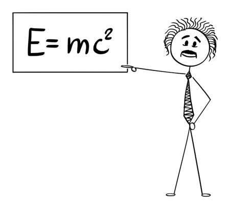 Vector cartoon stick figure drawing conceptual illustration of scientist Albert Einstein pointing at sign with E equals mc2 equation of special relativity theory.