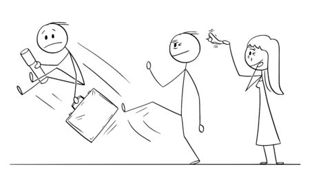 Vector cartoon stick figure drawing conceptual illustration of young man leaving home or house of his parents to start his own life. Father is kicking him out gently. Ilustrace
