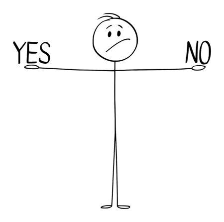 Vektor-Cartoon-Strichmännchen zeichnen konzeptionelle Darstellung von Mann oder Geschäftsmann, die ja und in Händen halten und zwischen zwei Optionen entscheiden, akzeptieren oder ablehnen.
