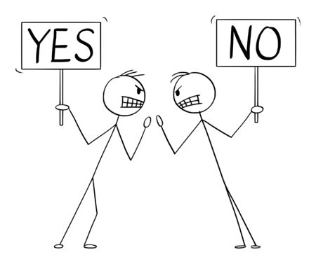 Vector cartoon stick figure drawing conceptual illustration of two angry men or businessmen in fight argument or arguing with yes and no signs in hands. Standard-Bild - 135426292